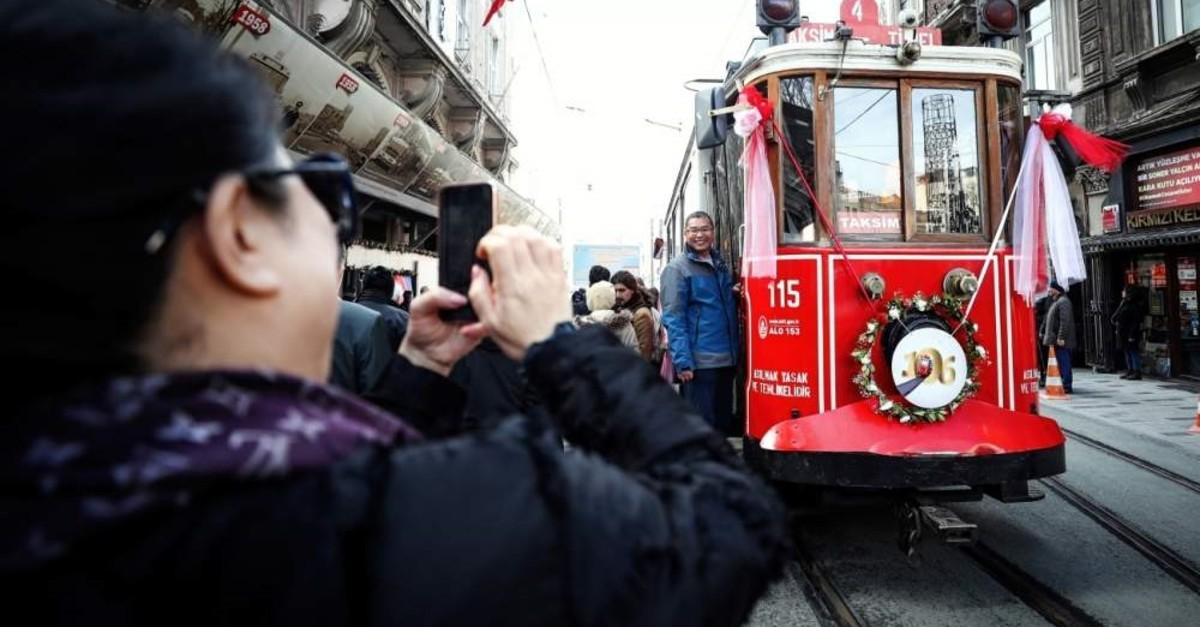 Tourists take photos alongside a nostalgic tram, an indispensable sight of ?stiklal Avenue in Taksim, Istanbul, Feb. 11, 2020. (AA Photo)