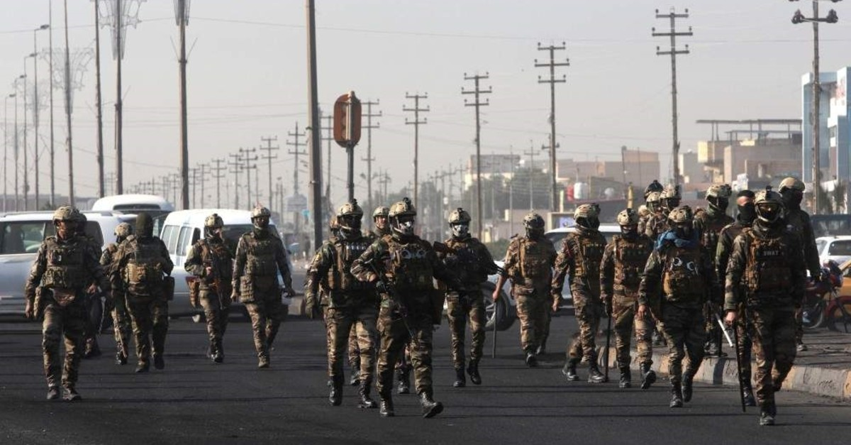 Iraqi security forces patrol the streets during ongoing anti-government protests, Basra, Jan. 21, 2020. (REUTERS Photo)
