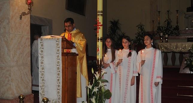 من احتفالات عيد الفصح في كنيسة مرسين (İHA)
