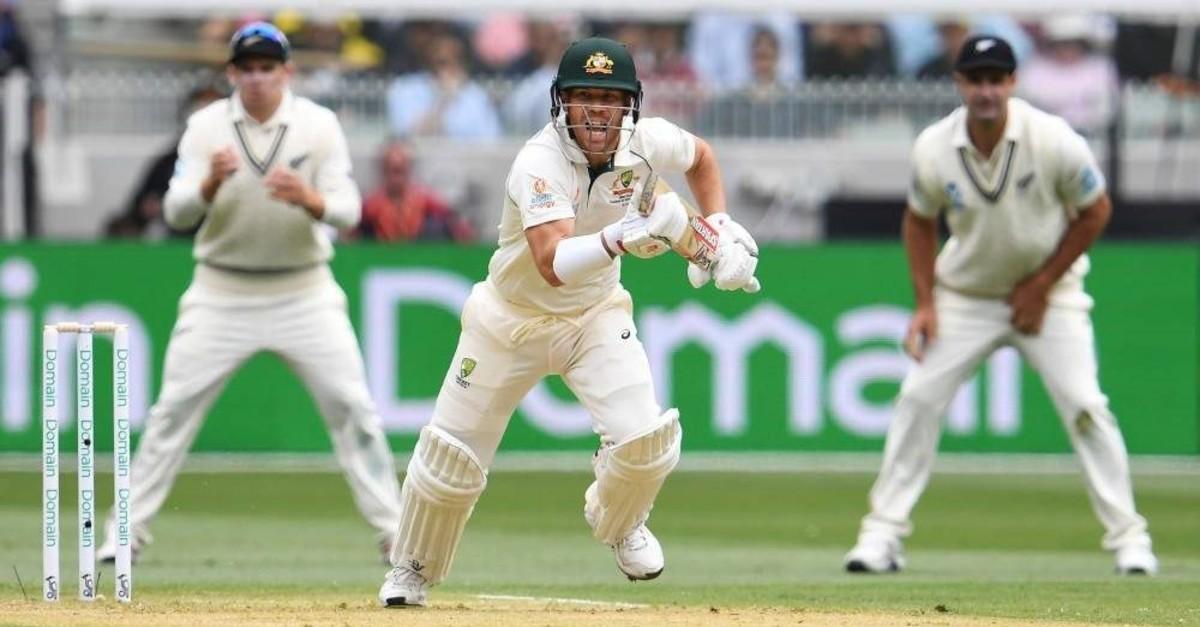 Australia's batsman David Warner runs between the wickets, Melbourne, Dec. 26, 2019.