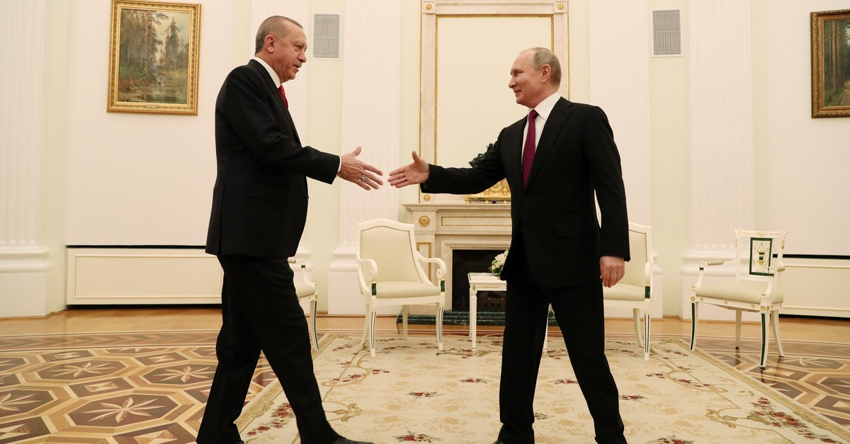 President Recep Tayyip Erdou011fan meets with his Russian counterpart Vladimir Putin at the Kremlin to discuss bilateral relations, Moscow, Russia, Jan. 23, 2019.