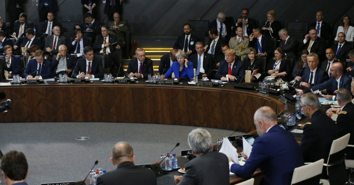 NATO leaders pictured during an annual meeting of the organization, NATO headquarters, Brussels, July 13, 2018.
