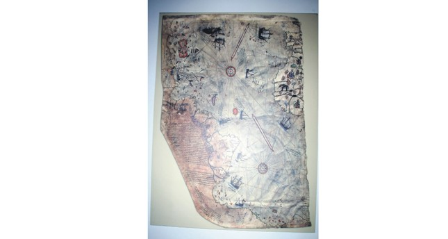 A small part of Piri Reis' world map, prepared in 1513, was discovered in 1929 at Topkapı Palace in Istanbul.