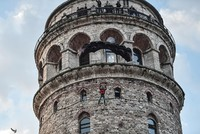 Turkish BASE jumper jumps from Istanbul's Galata Tower