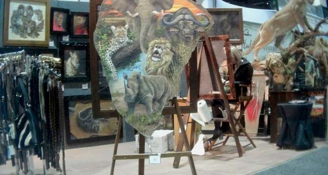This image provided by the Humane Society of the United States shows a painting on elephant hide for sale at the Safari Club International conference in Reno, Nevada. (AP Photo)