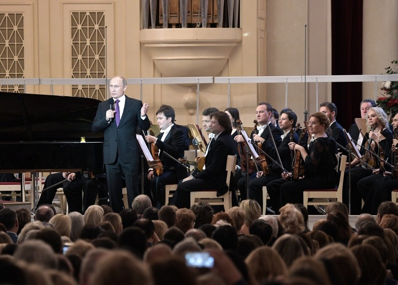 Russian President Vladimir Putin speaks during the gala concert of the XIX International Winter Festival Arts Square at the St Petersburg Academic Philharmonia in St. Petersburg, Russia, Dec. 15, 2018. (EPA/Alexei Nikolsky/Sputnik/Kremlin Pool)