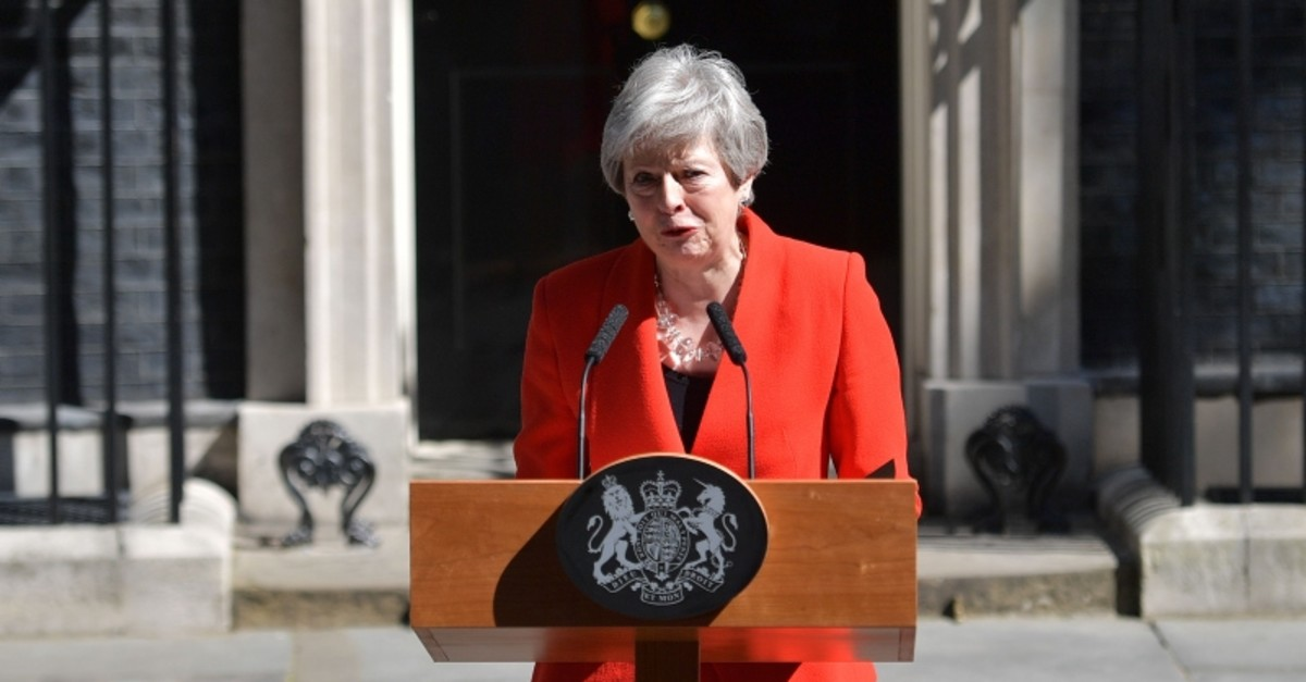 Britain's Prime Minister Theresa May announces her resignation outside 10 Downing street in central London on May 24, 2019. (AFP Photo)