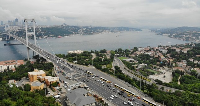 An aerial view of the July 15 Martyrs Bridge, formerly knowns as the Bosporus Bridge, which is among the city's most congested areas.