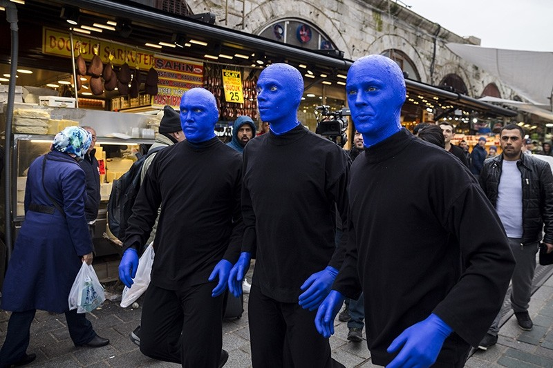 Blue Man Group visits Eminönü district's Spice Bazaar