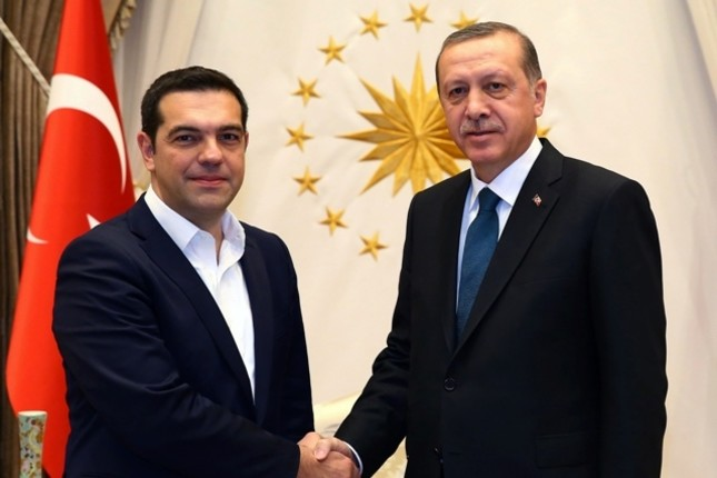 Greek PM Tsipras (L) and President Erdoğan