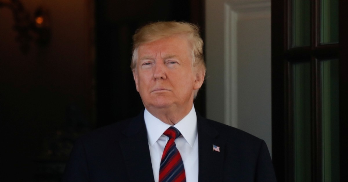 U.S. President Donald Trump awaits the arrival of Swiss Federal President Ueli Maurer at the White House in Washington, U.S., May 16, 2019. (Reuters Photo)