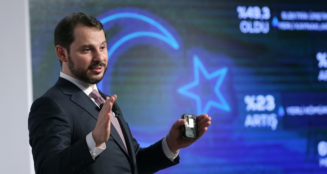 Berat Albayrak, the treasury and finance minister in the new presidential system, speaks during a meeting on the future plan of Turkey's energy policies while he was in office as the energy minister.