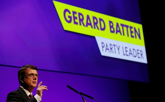 UKIP leader Gerard Batten speaks during the UKIP party conference in Birmingham, Britain September 21, 2018. (Reuters Photo)