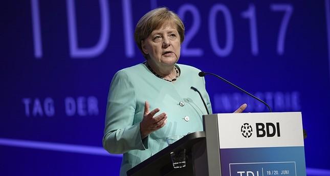 German Chancellor Angela Merkel speaks during the Day of the German Industry in Berlin, Germany, 20 June 2017. (EPA Photo)