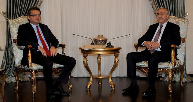 TRNC President Mustafa Akıncı (R) and newly-appointed Prime Minister Tufan Erhürman. (Turkish Agency Cyprus via AA)