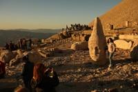 Sunset illuminates ancient statues at Turkey's Mount Nemrut