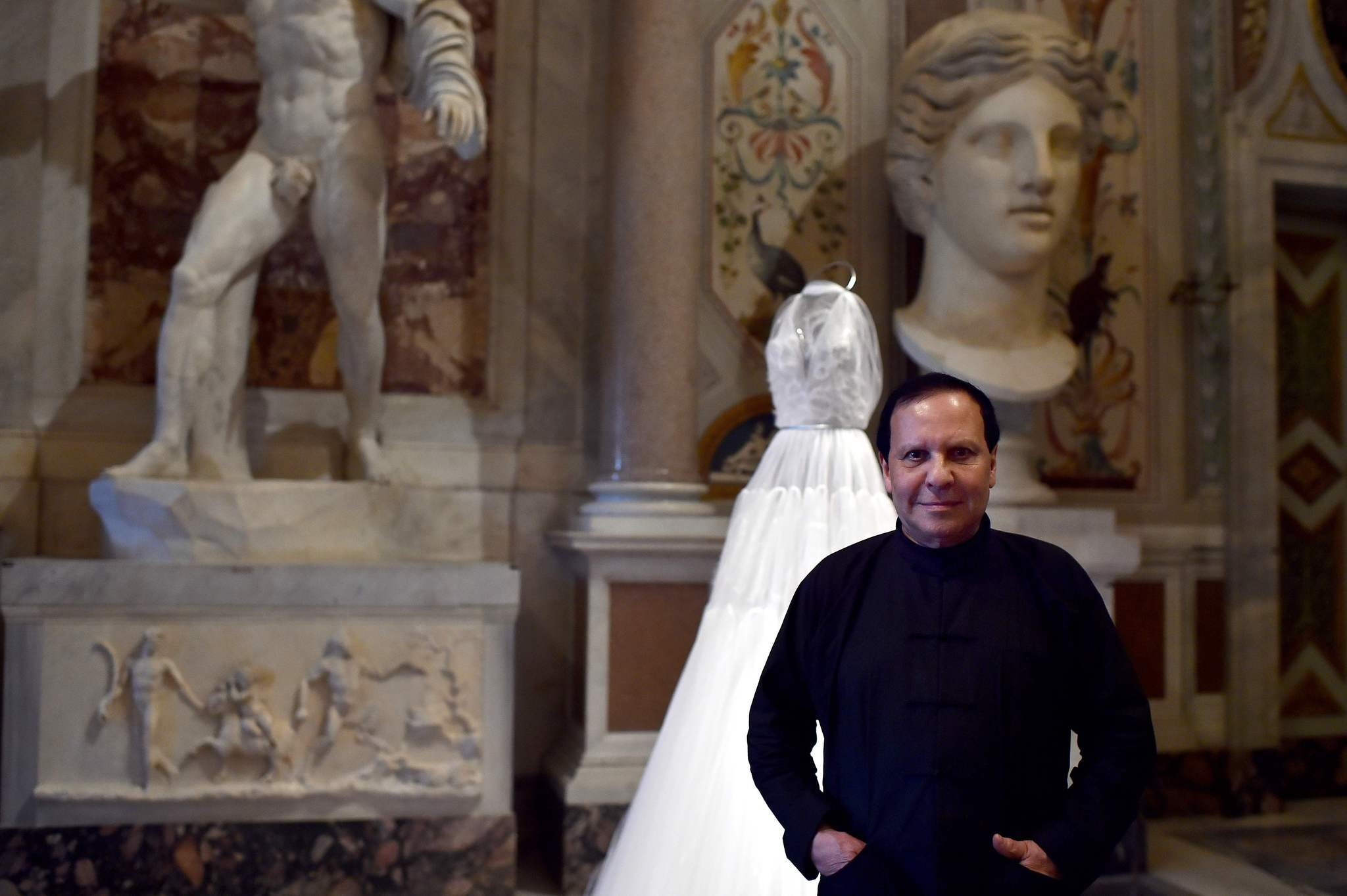 Tunisian-born, Paris-based couturier Azzedine Alaia posing during the press preview of the exhibition , Azzedine Alaia's soft sculpture, at the Galleria Borghese in Rome. (AFP Photo)