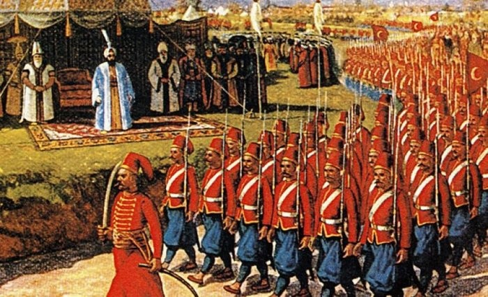 A painting shows the Ottoman army marching in the presence of the Ottoman sultan.