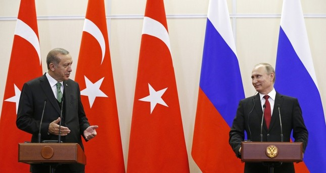 President Recep Tayyip Erdoğan and Russian President Vladimir Putin attending a news conference following their talks in the Russian Black Sea resort of Sochi on Wednesday.
