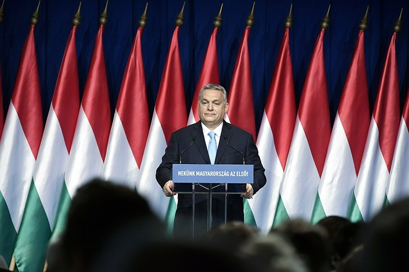 Hungarian Prime Minister Viktor Orban delivers his annual ,State of Hungary, speech in Budapest, Hungary, Sunday, Feb. 10, 2019. (AP Photo)