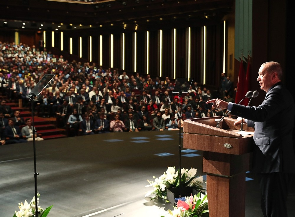 President Recep Tayyip Erdou011fan addressed Turkish academics and members of higher education institutions at the Beu015ftepe Convention and Culture Center in Ankara on the occasion of the start of the new academic year, Oct. 3.