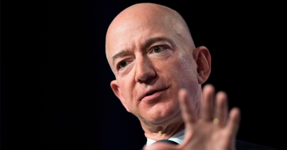 In this file photo taken on Sept. 19, 2018, Amazon and Blue Origin founder Jeff Bezos provides the keynote address at the Air Force Association's Annual Air, Space & Cyber Conference in Oxen Hill, Maryland. (AFP Photo)