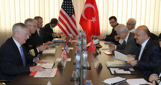 Defense Minister Fikri Işık held a closed-door meeting with U.S. Secretary of Defense James Mattis prior to the  NATO Defense Ministers Meeting in Brussels. (AA Photo)