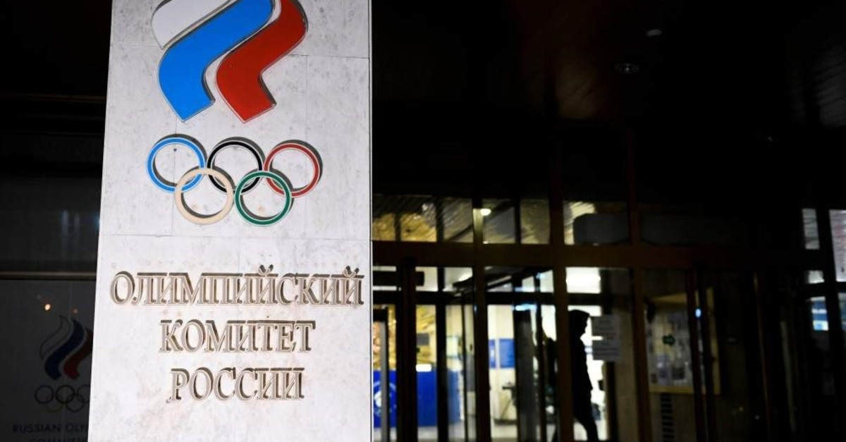 A person walks out of the Russian Olympic Committee (ROC) headquarters in Moscow on Dec. 9, 2019. (AFP Photo)