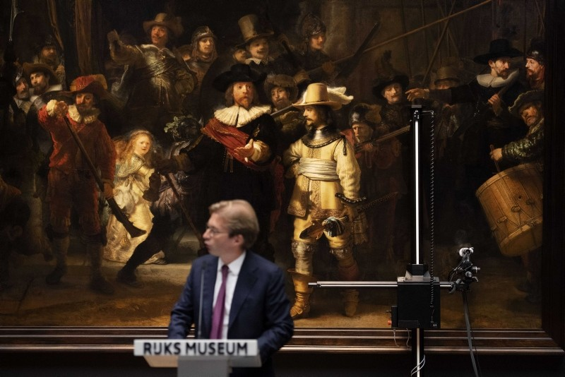 Director Taco Dibbits of the Rijksmuseum announces that De Nachtwacht (the Night Watch) of Dutch painter Rembrandt will be restored in 2019 in front of the public, Amsterdam, the Netherlands, 16 October 2018. (EPA Photo)