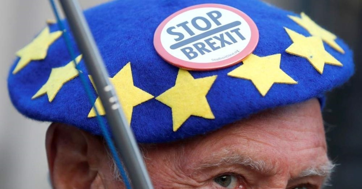An anti-Brexit protester demonstrates outside the Houses of Parliament in London, Britain, October 28, 2019. (Reuters Photo)