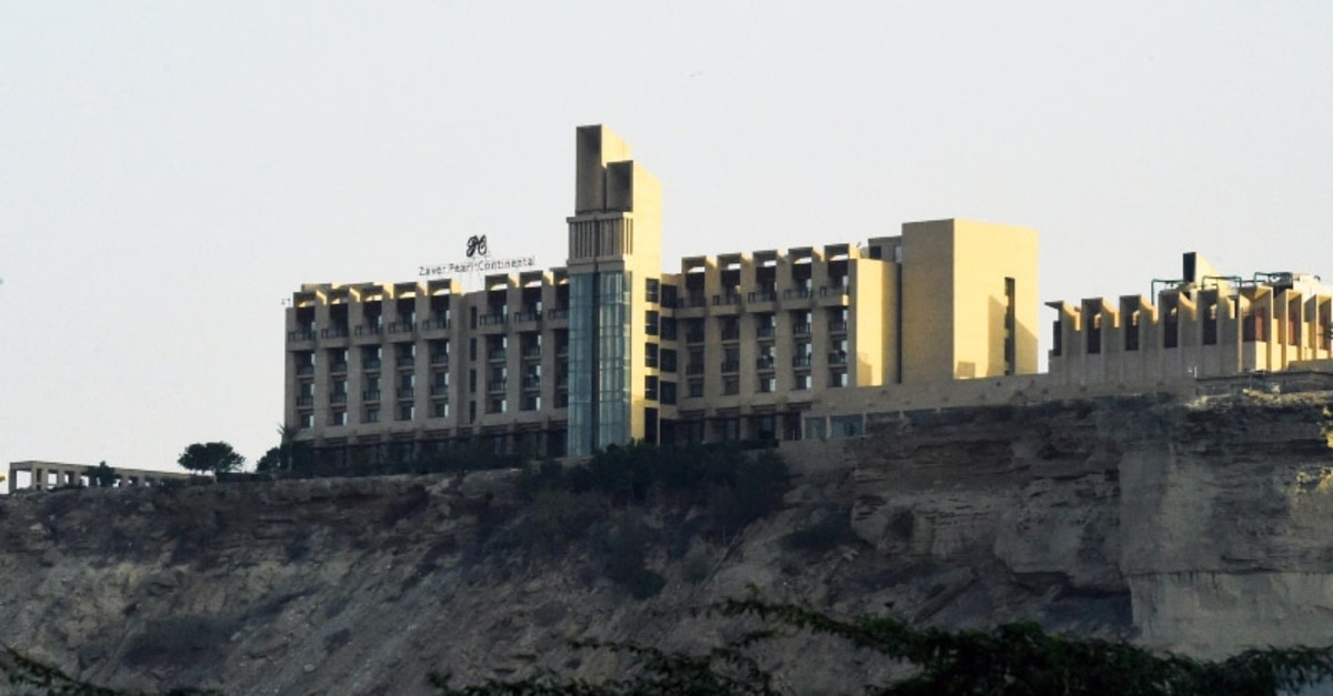 This picture taken on March 8, 2019 shows a general view of the five-star Pearl Continental hotel located on a hill in the southwestern Pakistani city of Gwadar, where gunmen stormed the building. (AFP Photo)