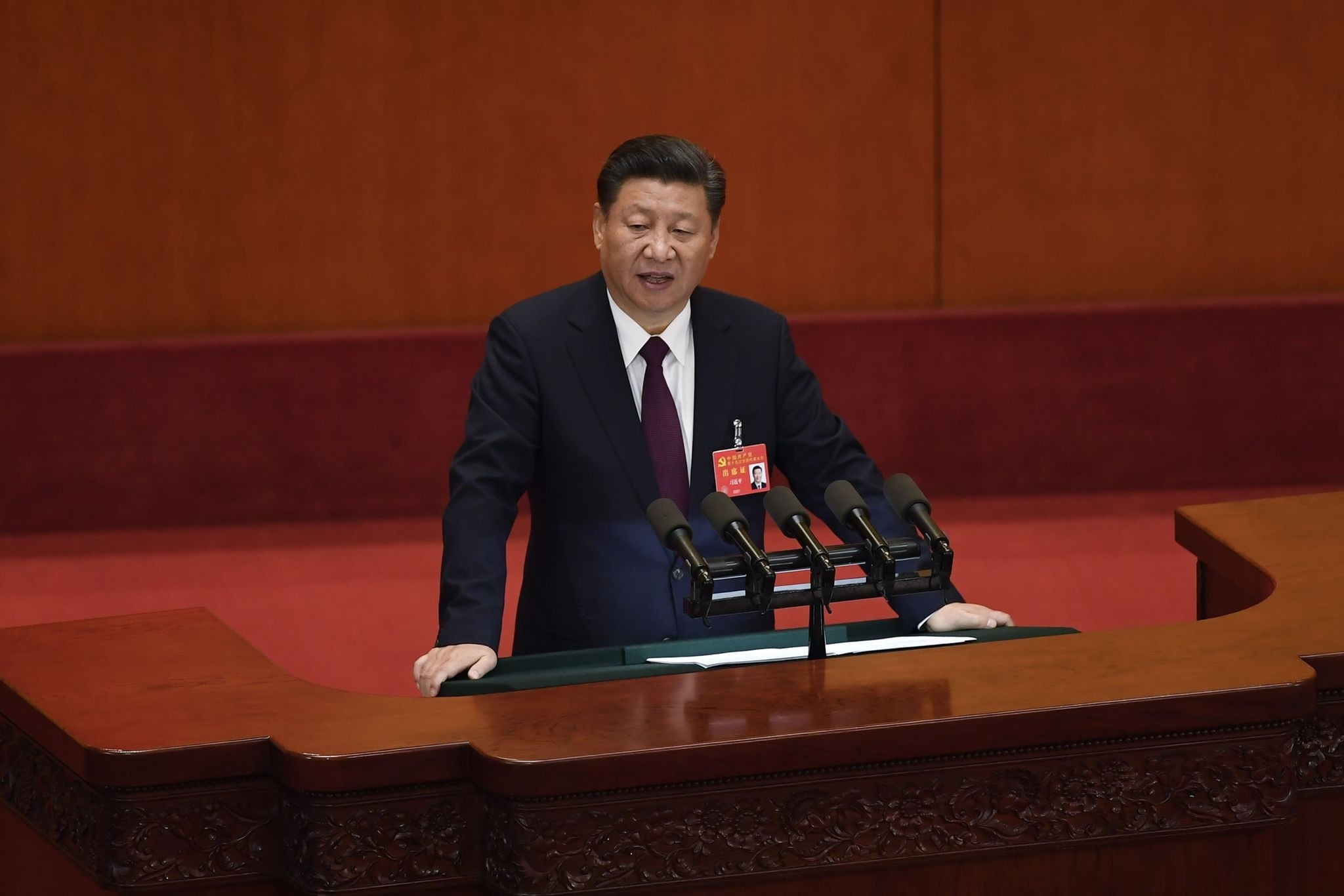 Chinese President Xi delivers a speech at the opening session of the Chinese Communist Party Congress at the Great Hall of the People in Beijing on Oct. 18.