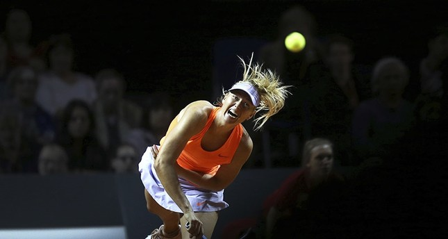 Russia's Maria Sharapova serves against Italy's Roberta Vinci at the Porsche Tennis Grand Prix in Stuttgart, Germany, Wednesday, April 26, 2017. (AP Photo)