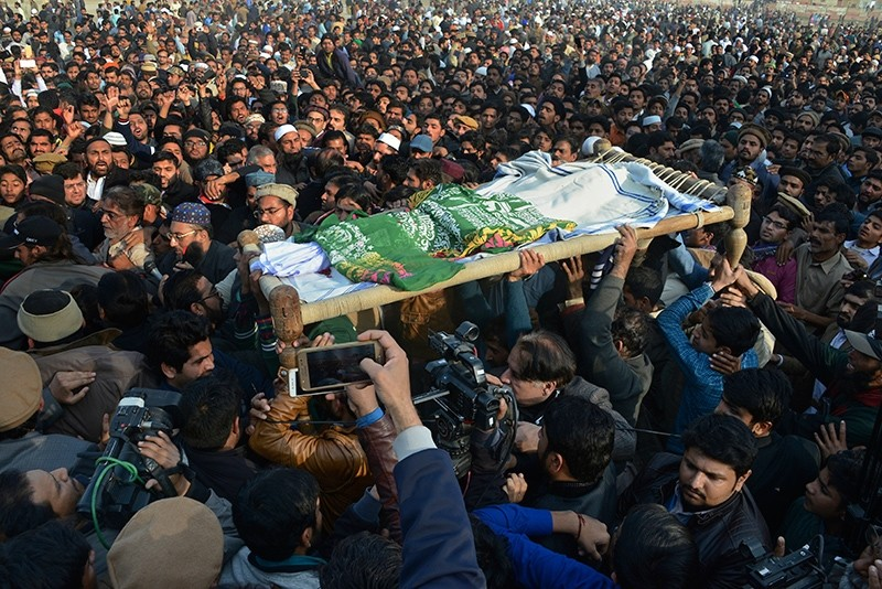 People attend a funeral of a Pakistani girl who was raped and killed, in Kasur, Pakistan, Jan. 10, 2018. (AP Photo)