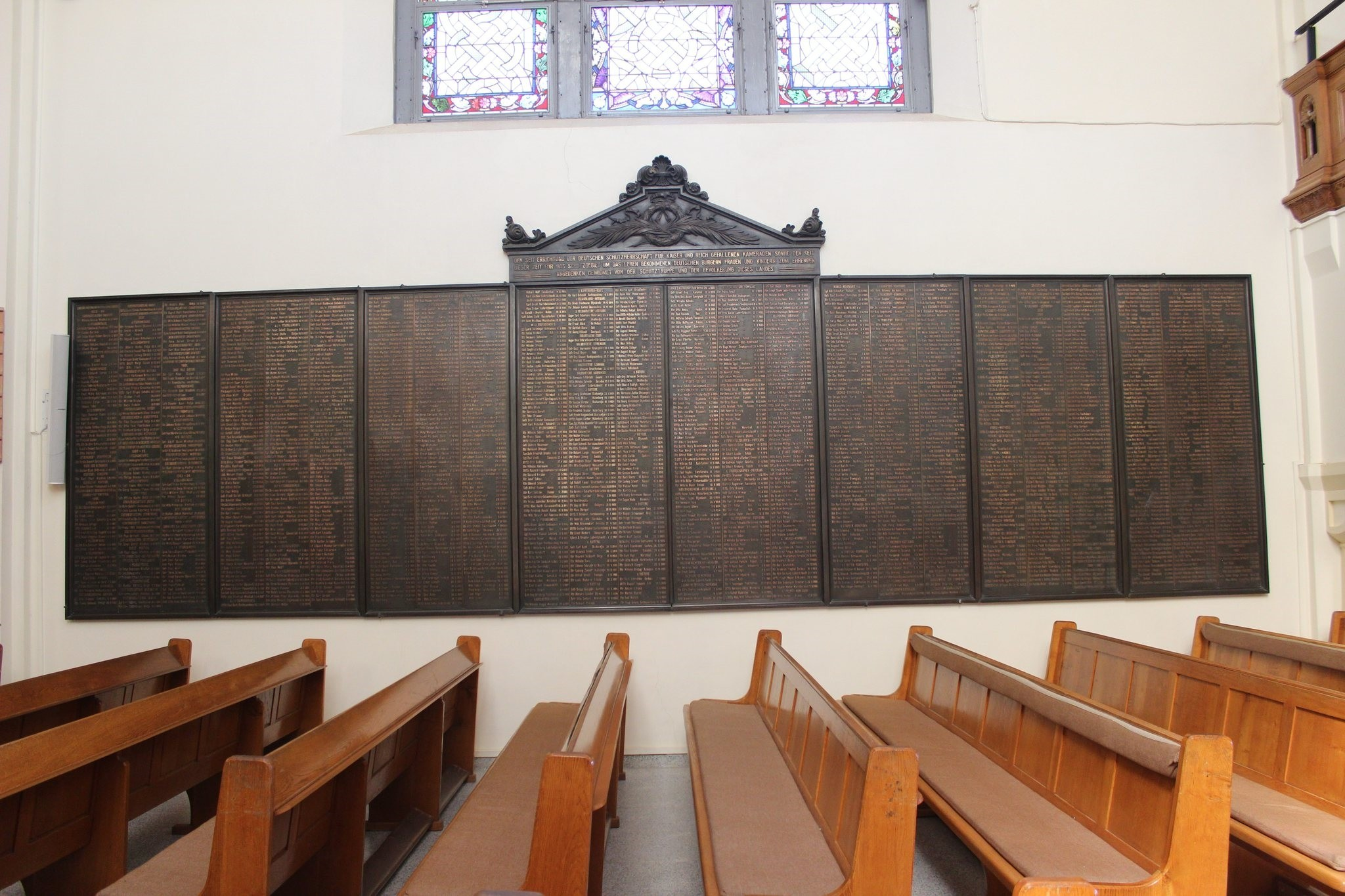 On the wall of Christ Church in Windhoek's Center, the names of German soldiers are written, who are responsible for killing thousands.