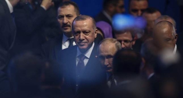 President Recep Tayyip Erdo?an and Russia's President Vladimir Putin arrive for a ceremony in Istanbul for the inauguration of the TurkStream pipeline, Jan. 8, 2020. AP Photo
